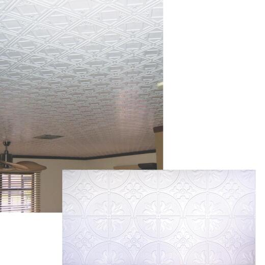 Dimensions 2 Ft. x 4 Ft. White 12 In. Circle/Square Pattern Tin Look Nonsuspended Ceiling Tile & Backsplash