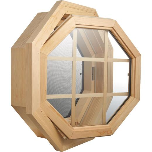 JJJ Specialty Cabin Breeze 4 Season 21-5/8 In. W. x 21-5/8 In. H. Pine Left-Hand Hinged Octagon Window