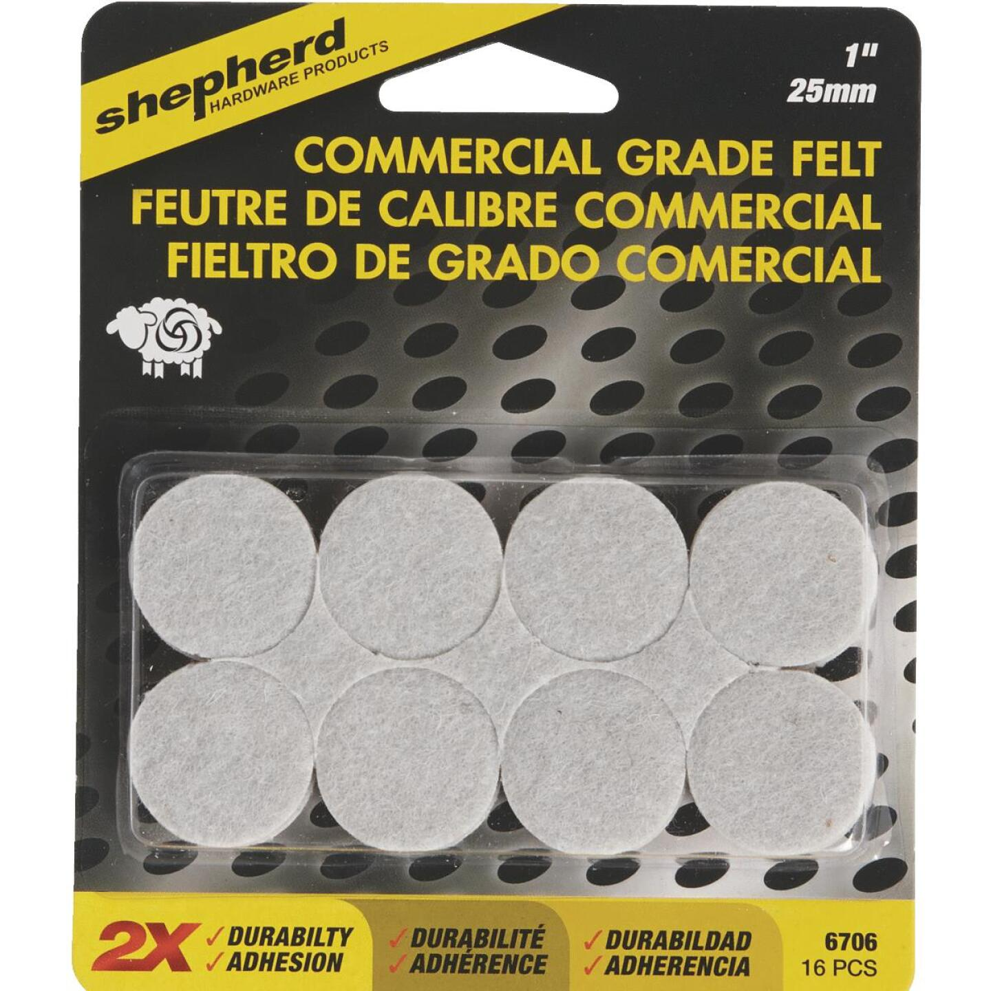 Shepherd 1 In. Beige Self-Adhesive Commercial Grade Felt Pads (16-Count) Image 2