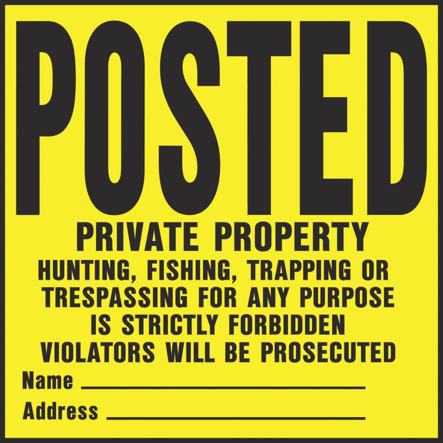 Hy-Ko Heavy Gauge Plastic Sign, Posted Private Property Image 1