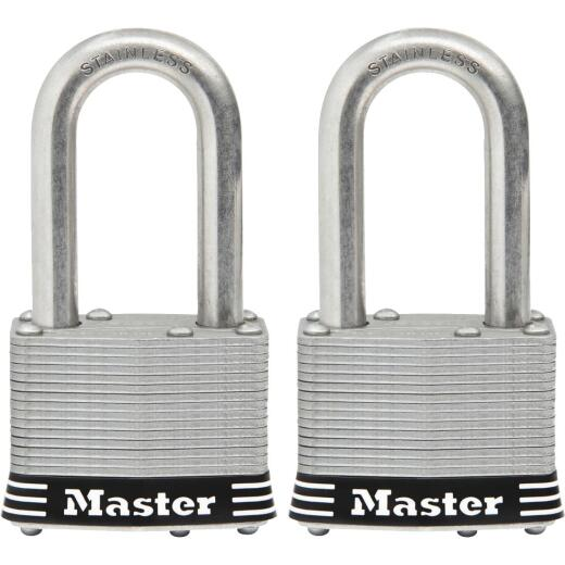 Master Lock 1-3/4 In. Laminated Stainless Steel Keyed Padlock with 1-1/2 In. Shackle (2-Pack)