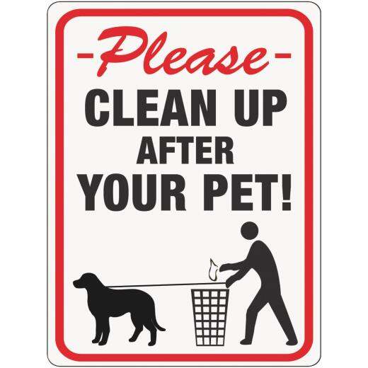 Hy-Ko Plastic Sign, Please Clean Up After Your Pet