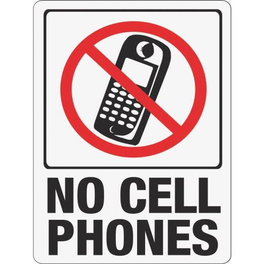 Hy-Ko Plastic Sign, No Cell Phones