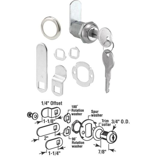 "Defender Security 3/4"" Stainless Steel Drawer & Cabinet Lock - Keyed Different"