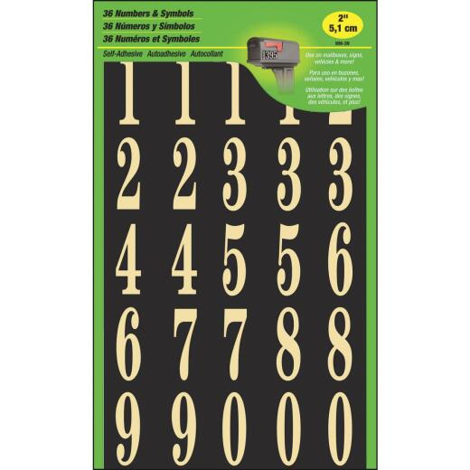 Hy-Ko 2 In. Polyester Adhesive Number Set, 36 Numbers