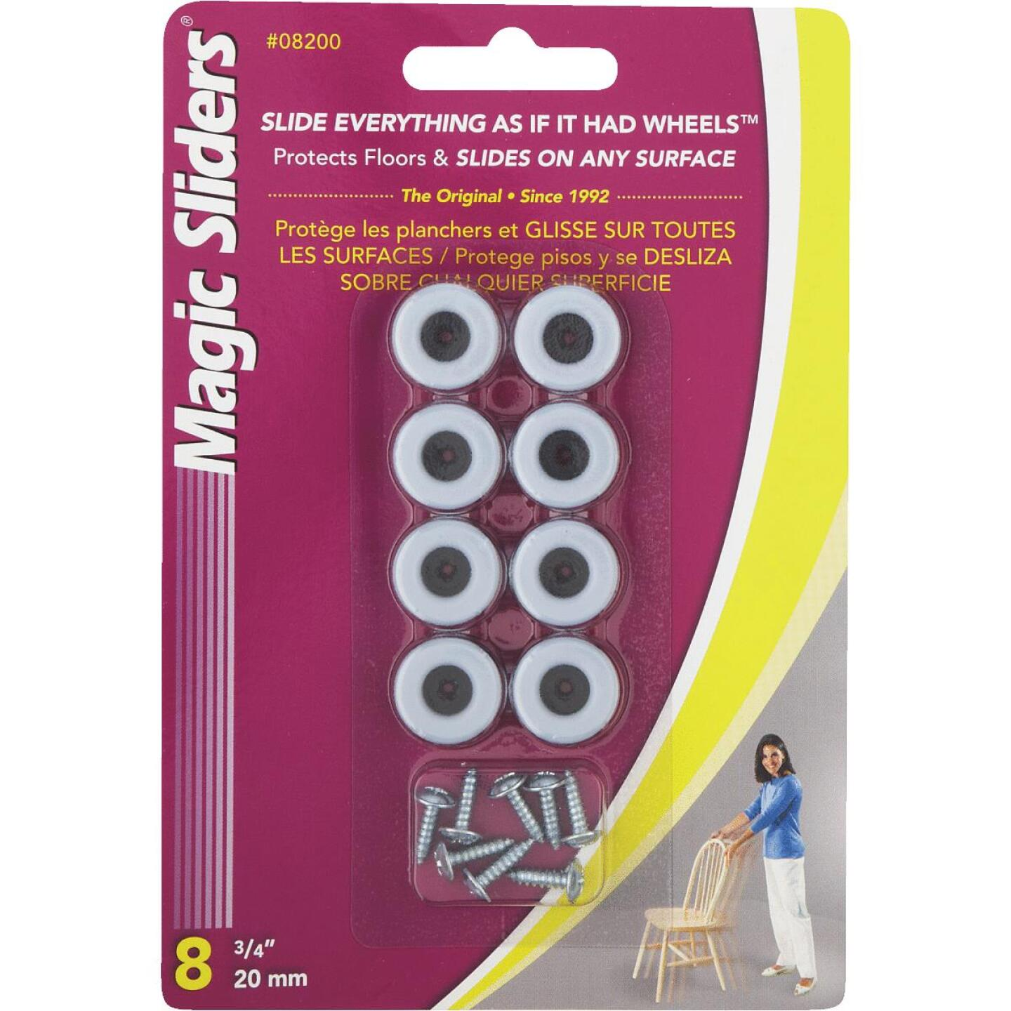 Magic Sliders 3/4 In. Round Screw on Furniture Glide,(8-Pack) Image 1