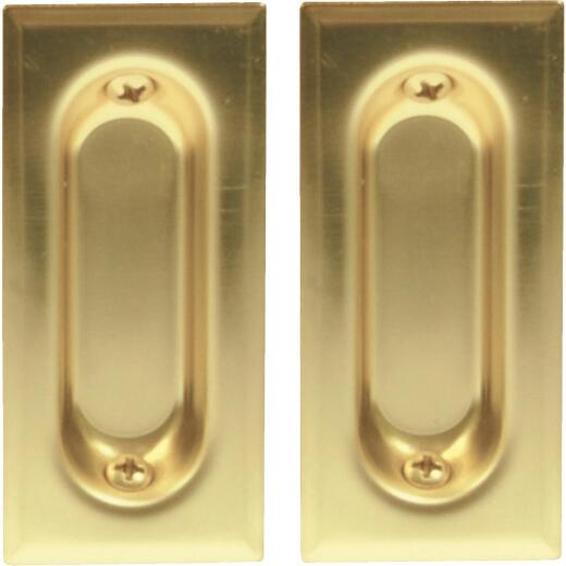 Johnson Hardware 3-3/8 In. Rectangular Brass Flush Pocket Door Pull (2-Count)