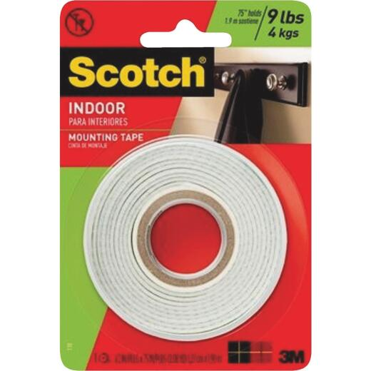 3M Scotch 1/2 In. x 75 In. White Indoor Mounting Tape (9 Lb. Capacity)