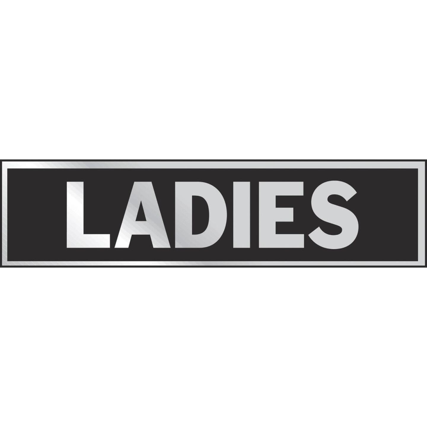 Hy-Ko Brushed Aluminum Restroom Sign, Ladies Image 1