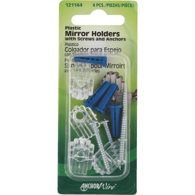 Hillman Plastic Mirror Holders & Anchors Set