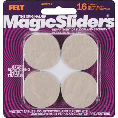 Magic Sliders 1-1/2 In. Round Oatmeal Self-Adhesive Heavy-Duty Furniture Pad (16-Pack)