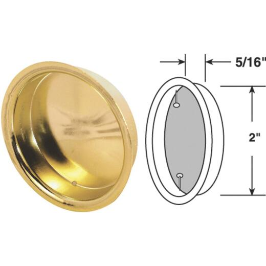 Prime-Line 2 In. Dia. Brass Wardrobe Pocket Door Pull (2-Count)