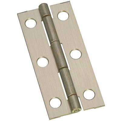 National 1-1/8 In. x 2-1/2 In. Antique Brass Narrow Decorative Hinge (2-Pack)
