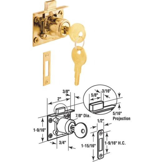 Defender Security Brass Drawer and Cabinet Lock with Keeper - Keyed Different