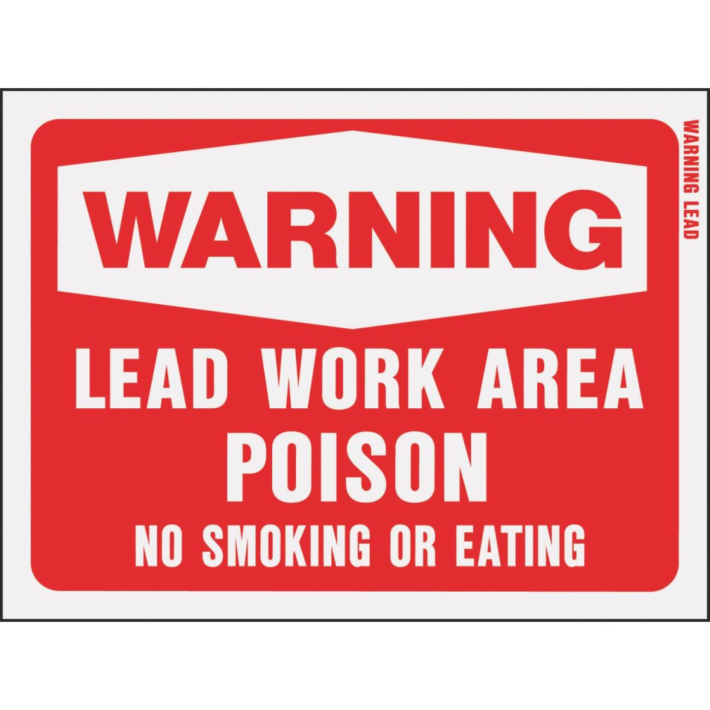 Hy-Ko Plastic Sign, Warning Lead Work Area Poison Image 1