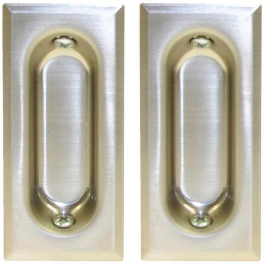Johnson Hardware 3 In. Rectangular Satin Nickel Flush Pocket Door Pull (2-Count)