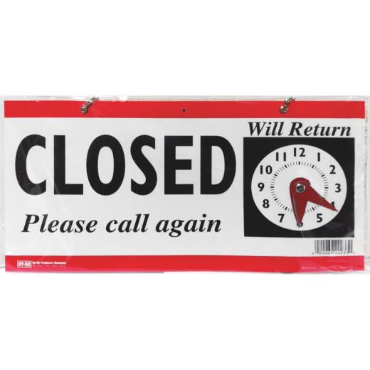 Hy-Ko Plastic Sign, Open/Closed Clock