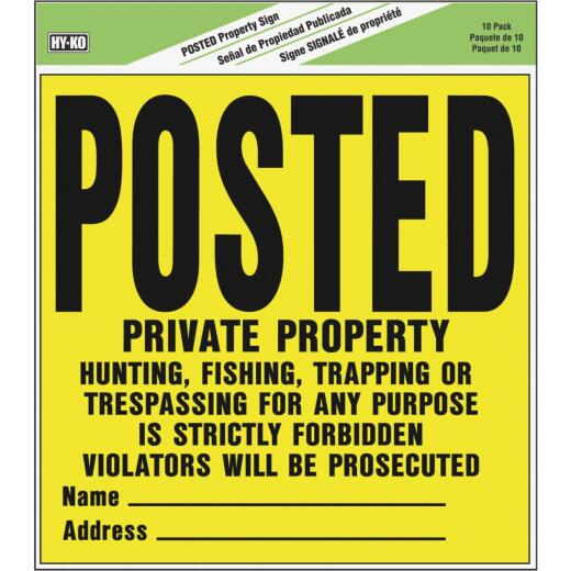 Hy-Ko Heavy Gauge Plastic Sign, Posted Private Property 10 pack