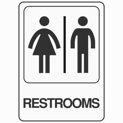 Hy-Ko Deco Series Heavy-Duty Plastic Sign, Restrooms