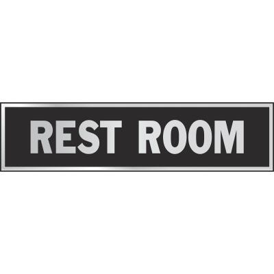 Hy-Ko Brushed Aluminum Sign, Restroom