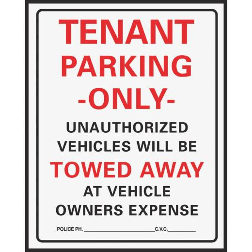 Hy-Ko Commercial Grade Plastic Sign, Tenant Parking Only