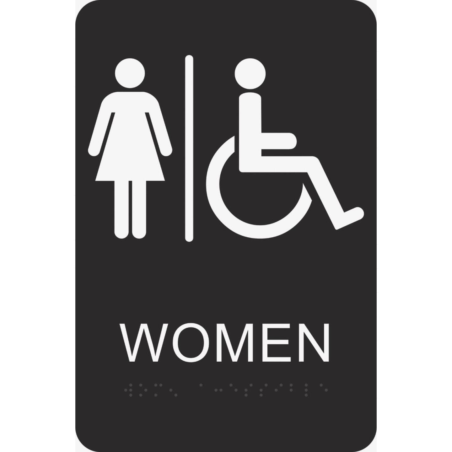 Hy-Ko Deco Series Plastic Braille Restroom Sign, Women Handicapped Image 1