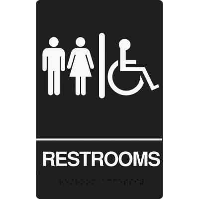 Hy-Ko Deco Series Plastic Braille Sign, Restrooms Handicapped