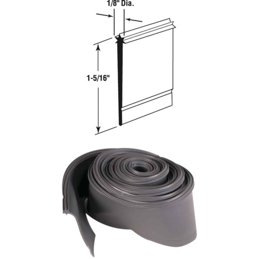 Prime-Line 1-5/16 In. x 36 In. Gray Star Insert Shower Door Bottom Sweep