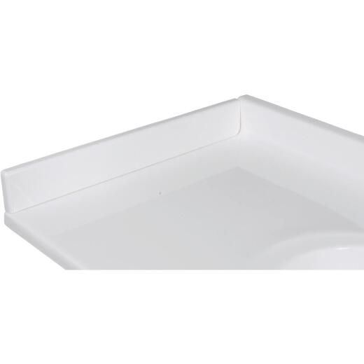Imperial Marble 3 In. H x 19 In. L White on White Gloss Cultured Marble Side Splash, Left Side