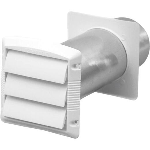 Dundas Jafine 4 In. White Plastic 3-Louver Dryer Vent Hood