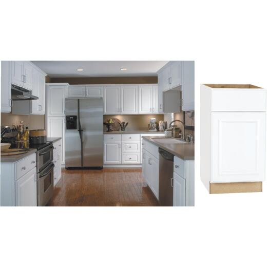 Continental Cabinets Hamilton 18 In. W x 34-1/2 In. H x 24 In. D Satin White Maple Base Kitchen Cabinet