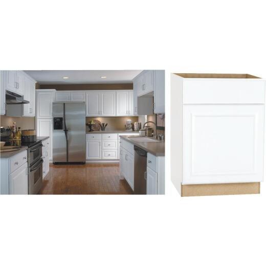 Continental Cabinets Hamilton 24 In. W x 34-1/2 In. H x 24 In. D Satin White Maple Base Kitchen Cabinet