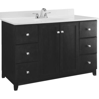 Design House Shorewood Espresso 48 In. W x 33 In. H x 21 In. D Vanity Base, 2 Door/6 Drawer