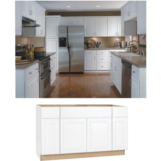 Continental Cabinets Hamilton 60 In. W x 34-1/2 In. H x 24 In. D Satin White Maple Sink/Cooktop Base Kitchen Cabinet