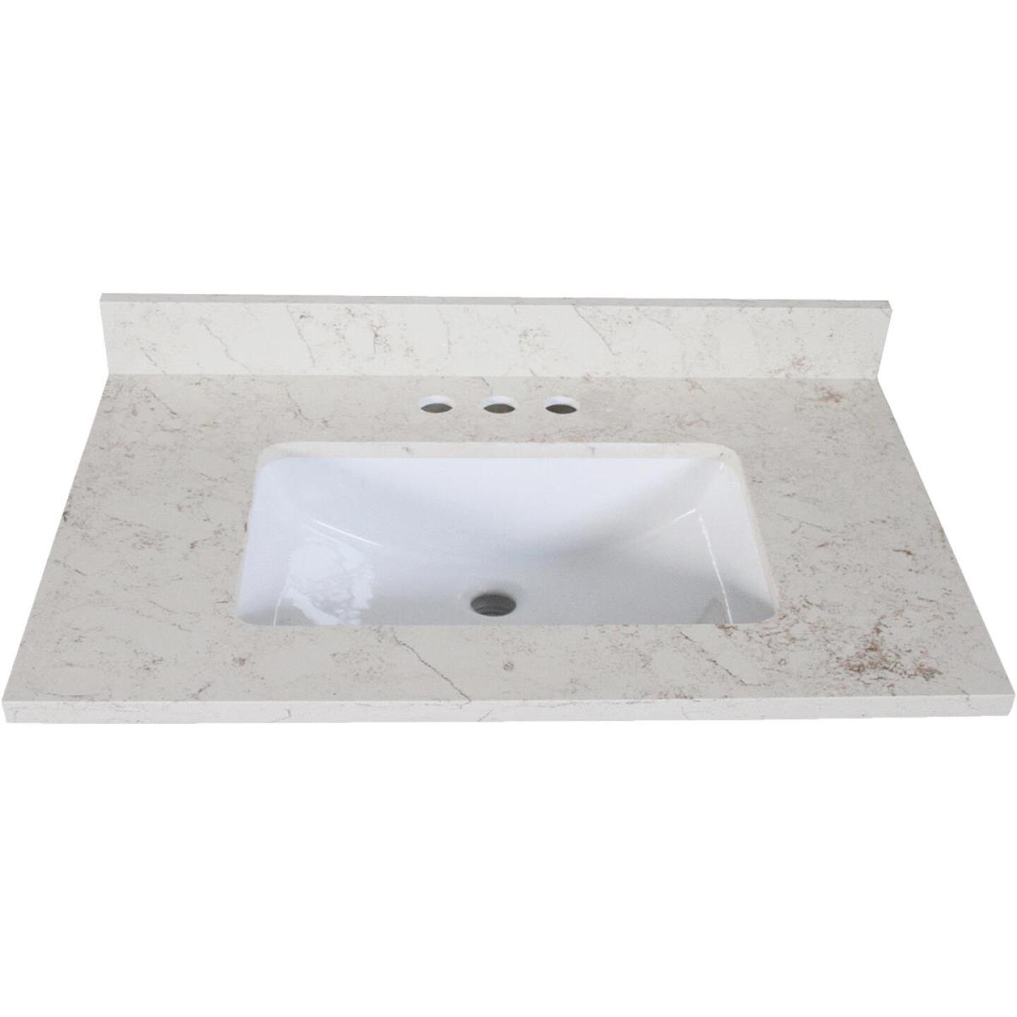 Design House 25 In. W x 22 In. D Giallo Quartz Vanity Top with Wave Bowl Image 1