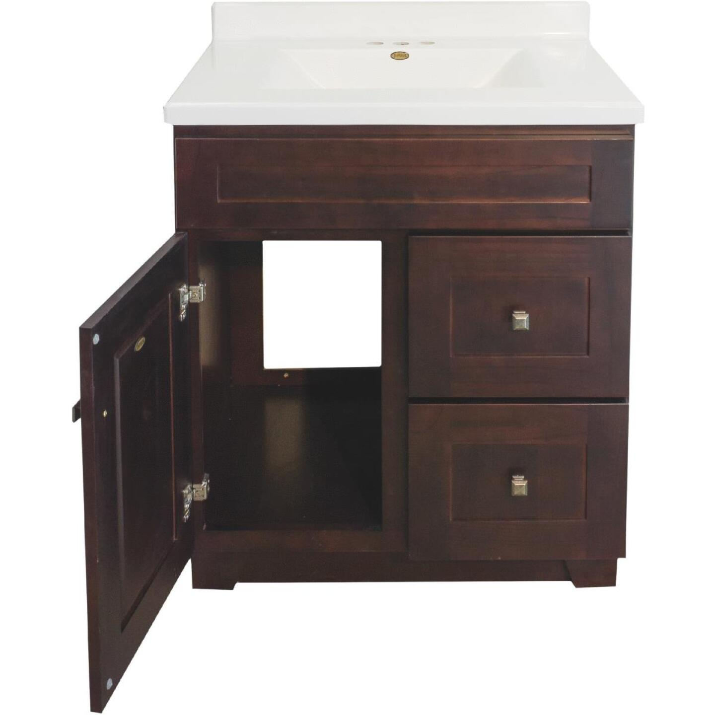 CraftMark CherryVale Shaker Cherry 30 In. W x 34 In. H x 21 In. D Vanity Base, 1 Door/2 Drawer Image 4