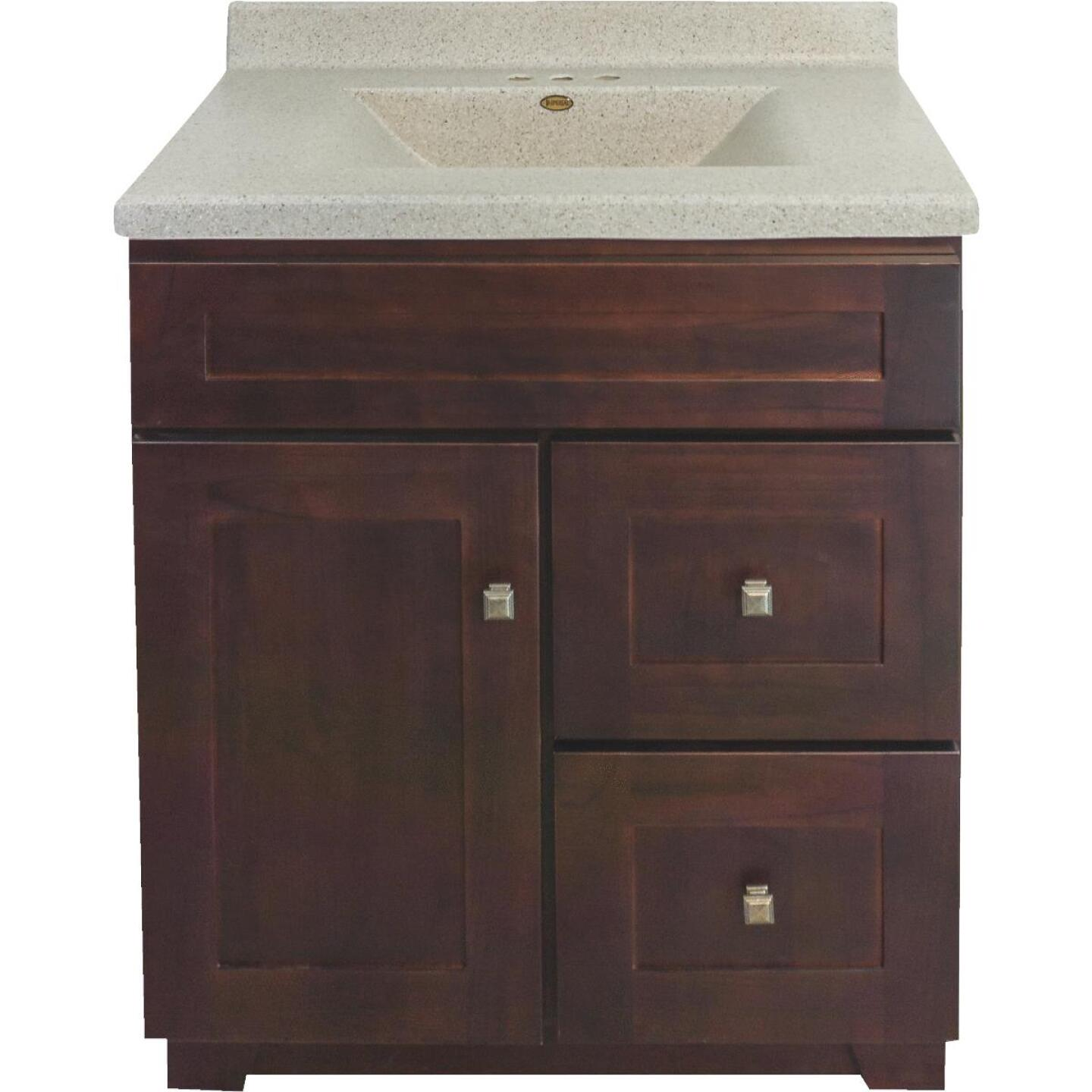 CraftMark CherryVale Shaker Cherry 30 In. W x 34 In. H x 21 In. D Vanity Base, 1 Door/2 Drawer Image 1