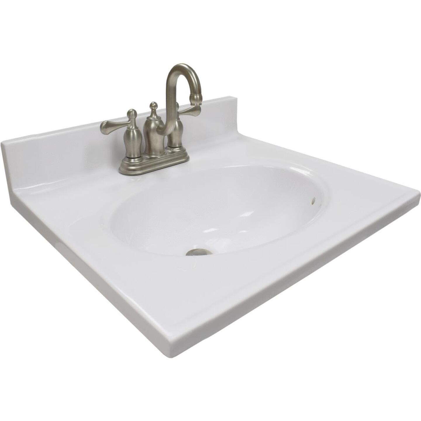 Modular Vanity Tops 19 In. W x 17 In. D Solid White Cultured Marble Vanity Top with Oval Bowl Image 1