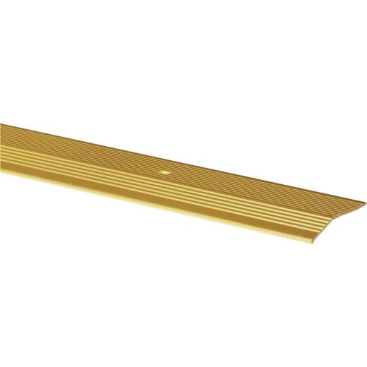 M-D Satin Brass Fluted 2 In. x 3 Ft. Aluminum Carpet Trim Bar, Extra Wide