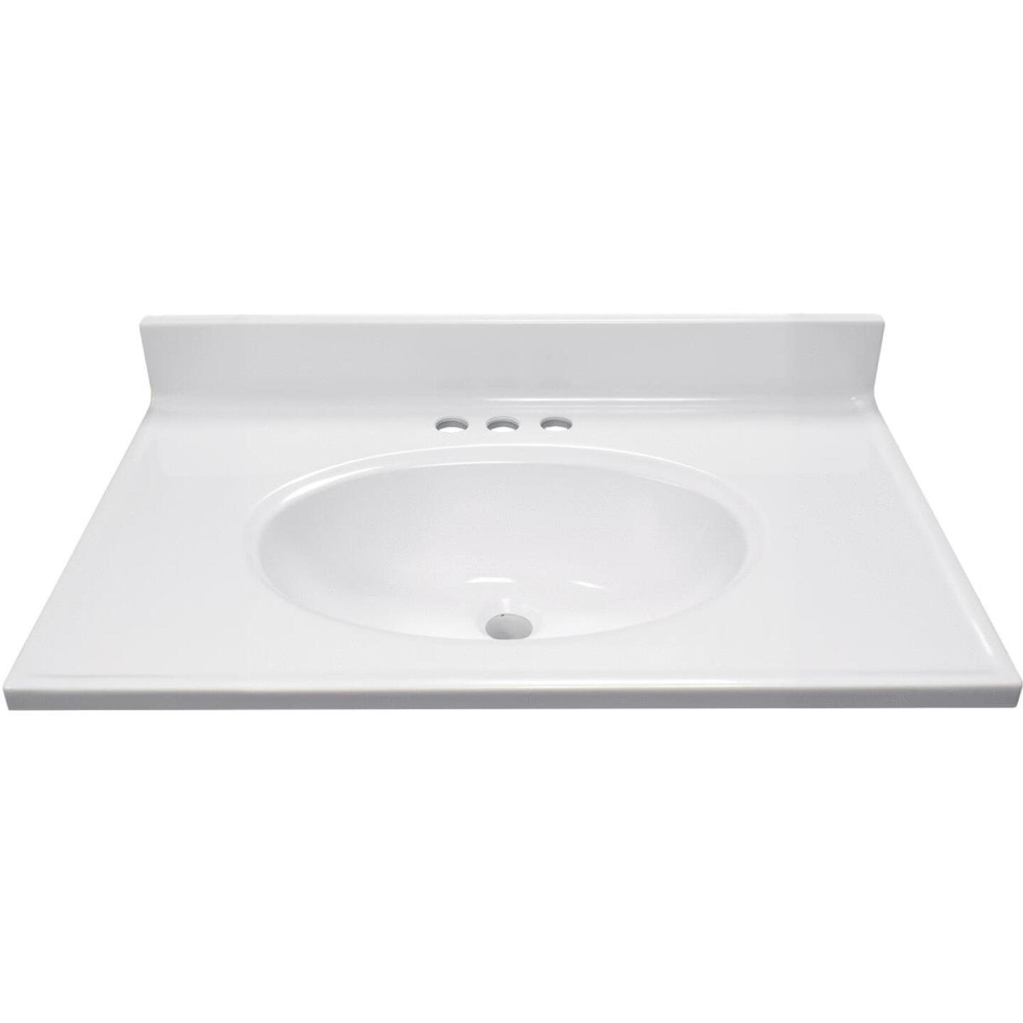 Modular Vanity Tops 31 In. W x 19 In. D Solid White Cultured Marble Vanity Top with Oval Bowl Image 2