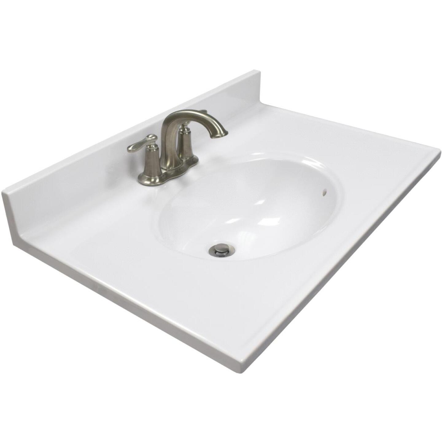 Modular Vanity Tops 31 In. W x 19 In. D Solid White Cultured Marble Vanity Top with Oval Bowl Image 1