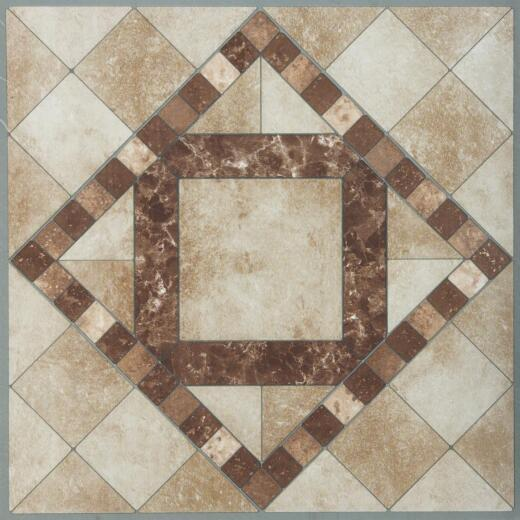 Home Impressions Travertine Mosaic 12 In. x 12 In. Vinyl Floor Tile (45 Sq. Ft./Box)