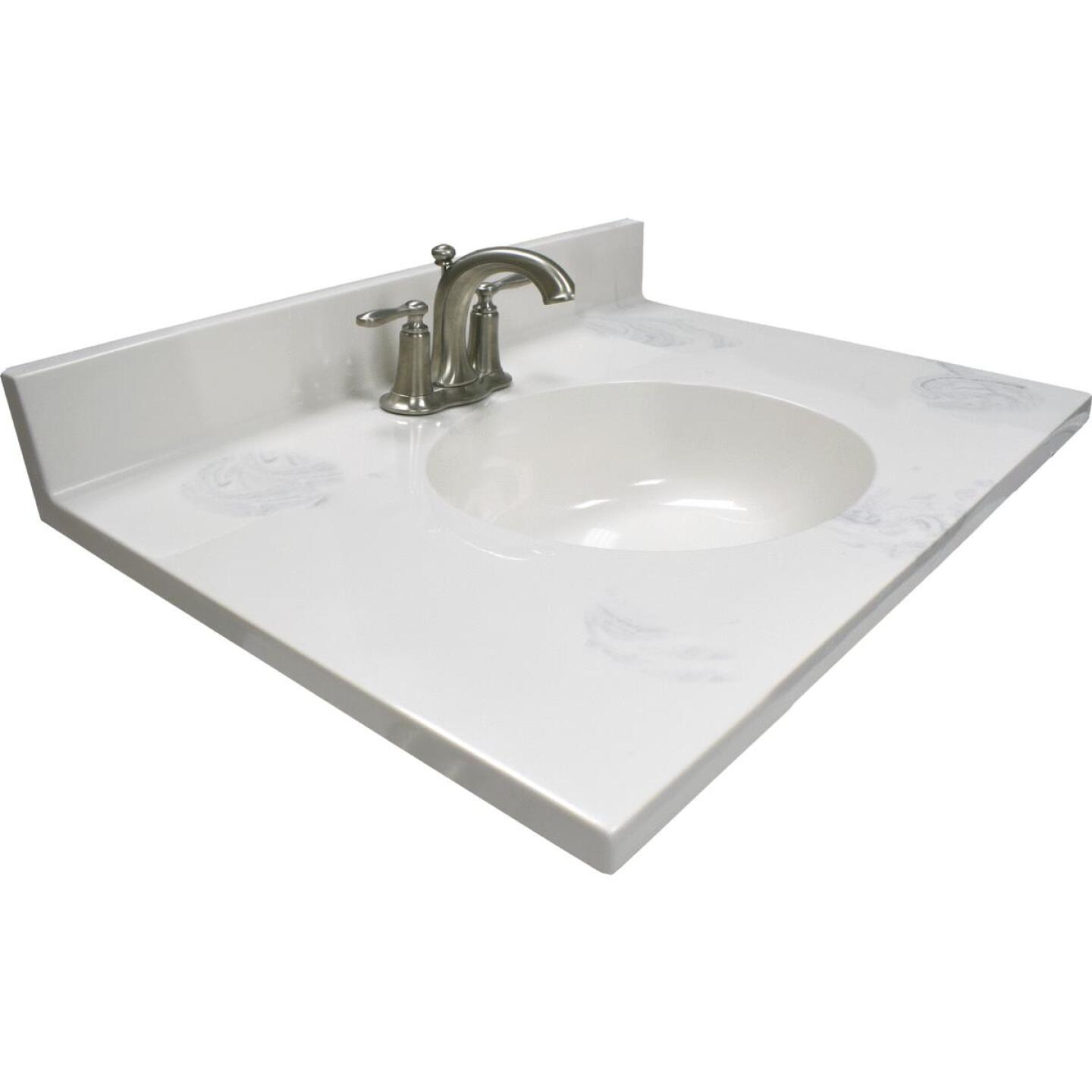 Modular Vanity Tops 31 In. W x 22 In. D Marbled Dove Gray Cultured Marble Vanity Top with Oval Bowl Image 1