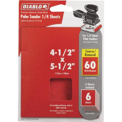 Diablo Clamp-On 60 Grit 4-1/2 In. x 5-1/2 In. 1/4 Power Sanding Sheet Sandpaper (6-Pack)