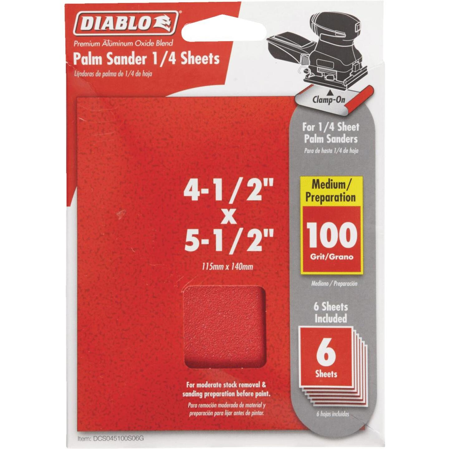 Diablo Clamp-On 100 Grit 4-1/2 In. x 5-1/2 In. 1/4 Sheet Sandpaper (6-Pack) Image 1