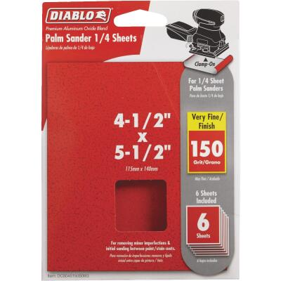 Diablo Clamp-On 150 Grit 4-1/2 In. x 5-1/2 In. 1/4 Sheet Power Sanding Sheet (6-Pack)