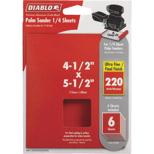 Diablo Clamp-On 220 Grit 4-1/2 In. x 5-1/2 In. 1/4 Sheet Power Sanding Sheet (6-Pack)