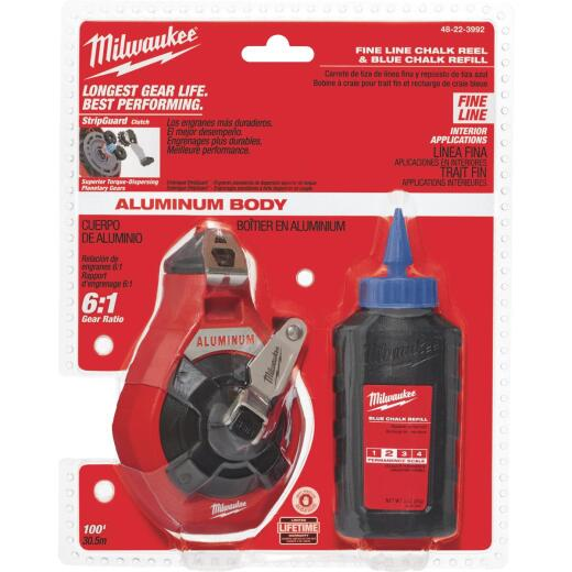 Milwaukee 100 Ft. Fine Chalk Line Reel and Chalk, Blue