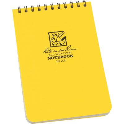 Rite in the Rain 4 In. W. x 6 In. H. Yellow 50-Sheet Top Spiral Bound All-Weather Memo Pad