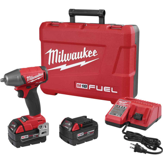 Milwaukee M18 FUEL 18 Volt Lithium-Ion Brushless 3/8 In. Compact Impact Wrench w/Friction Ring Kit